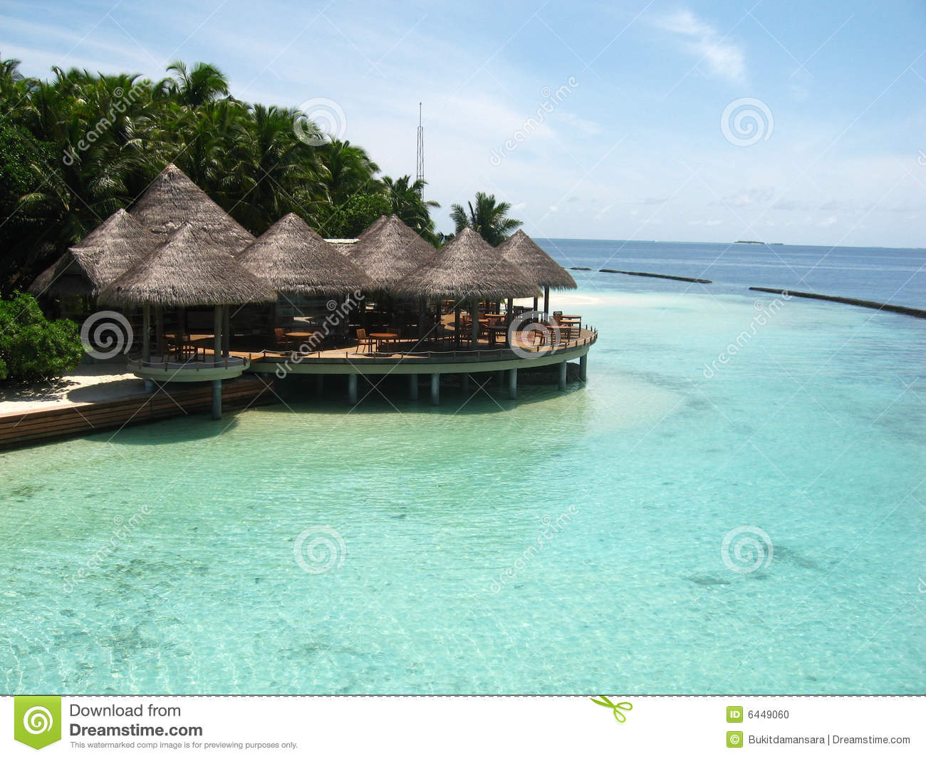 Traditional beach house in Maldives always has the grass roof, wood ...