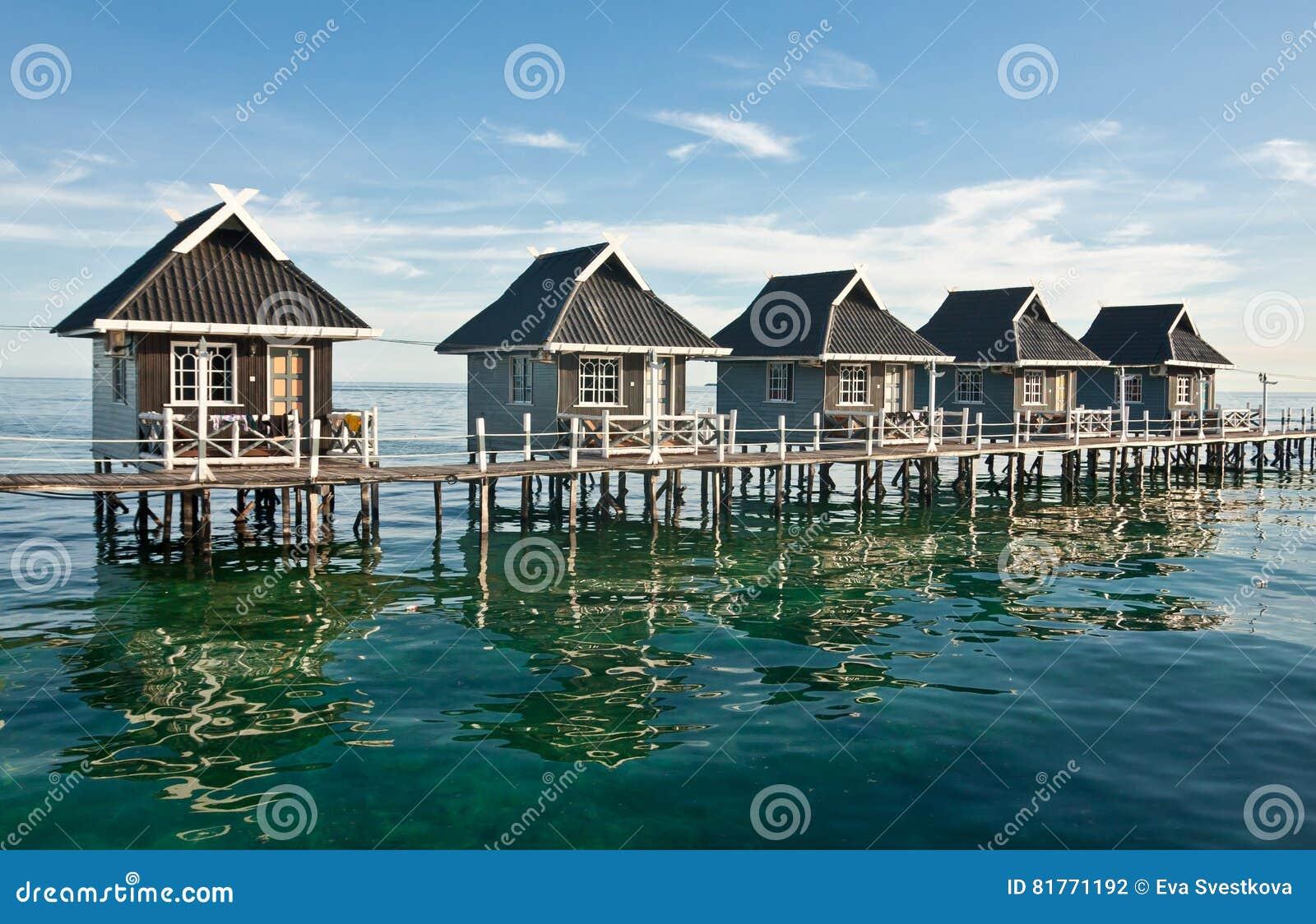 Water Houses On Mabul Island Borneo Sabah Malaysia
