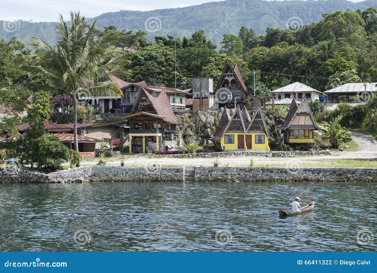 Water and houses at Toba Lake, Sumatra
