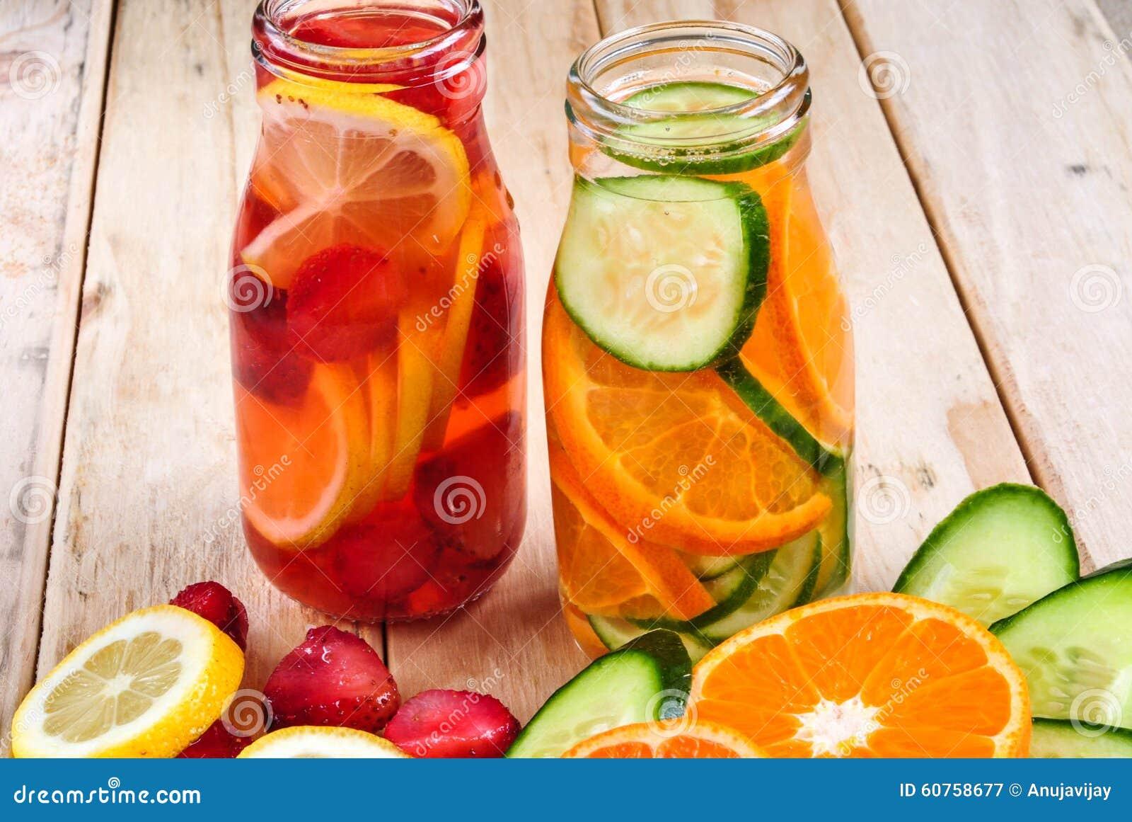 Fruit water with strawberry, lemon, cucumber, orange.