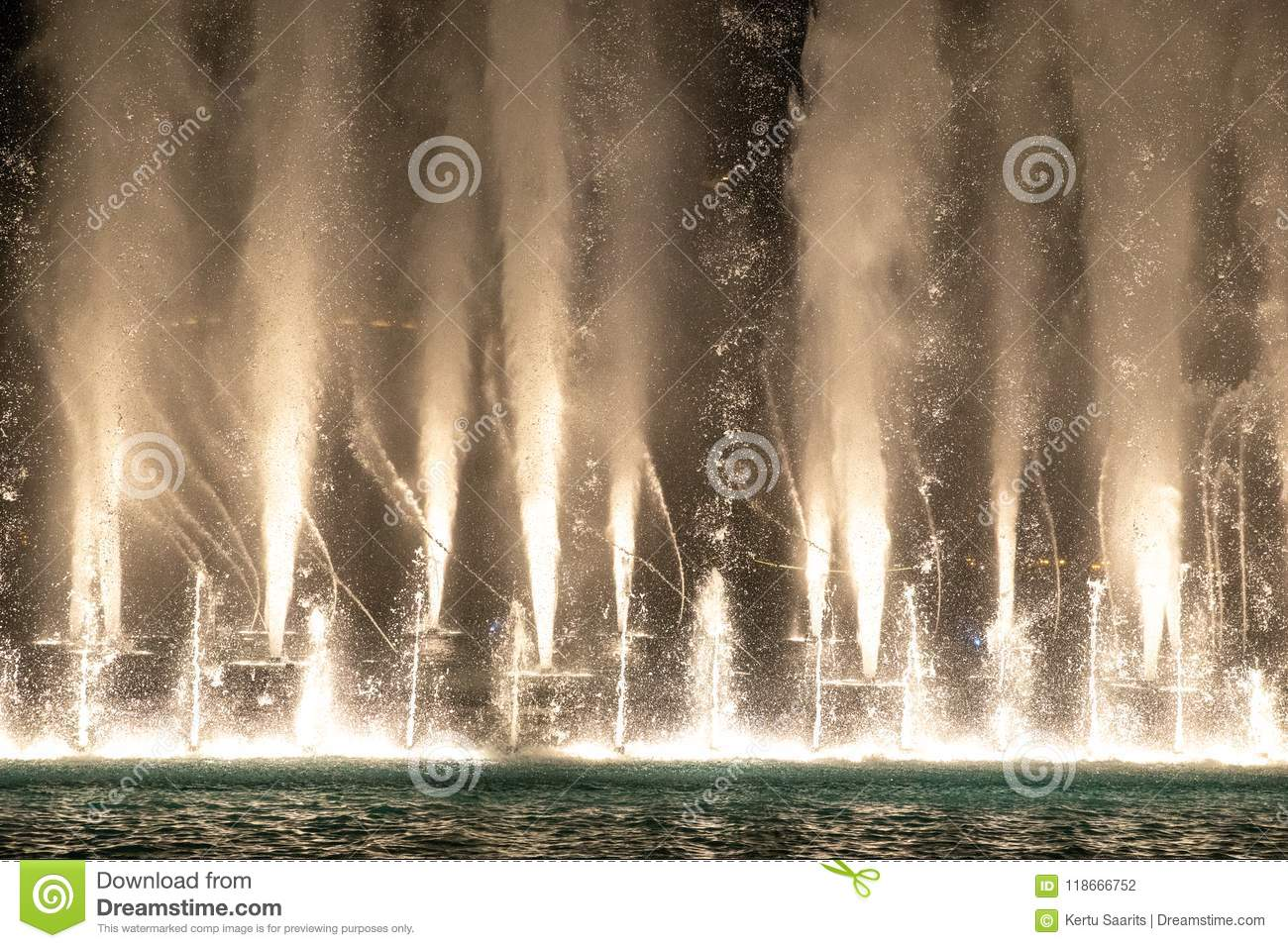 Water and light show of dubai mall fountains. Stock photo image.