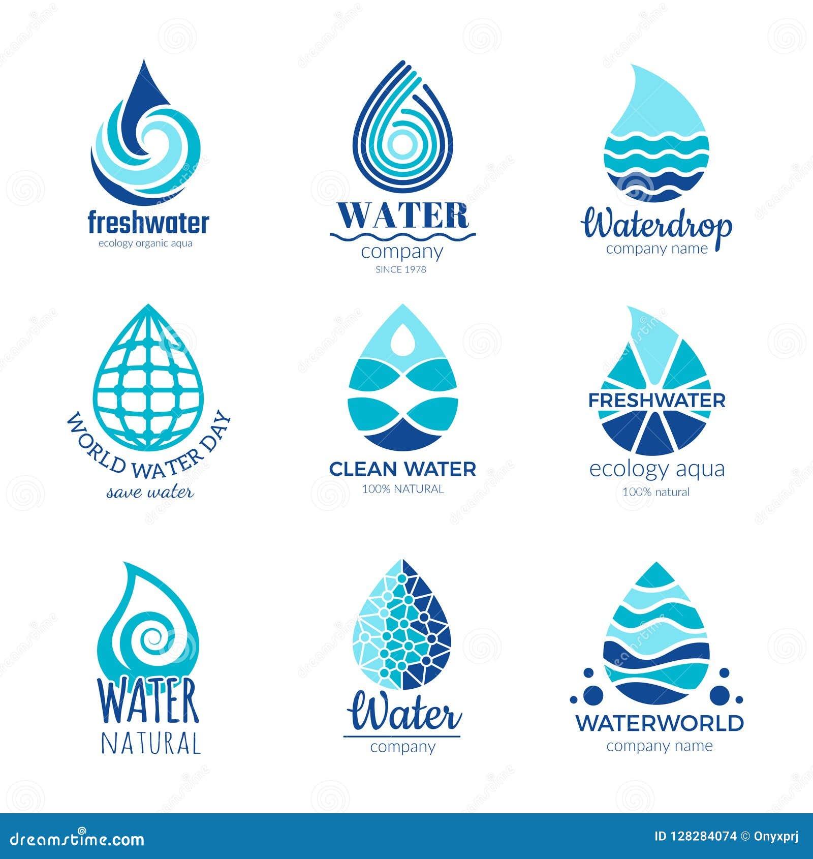 Water Logos Aqua Water Drops And Splashes Silhouette Health Rain