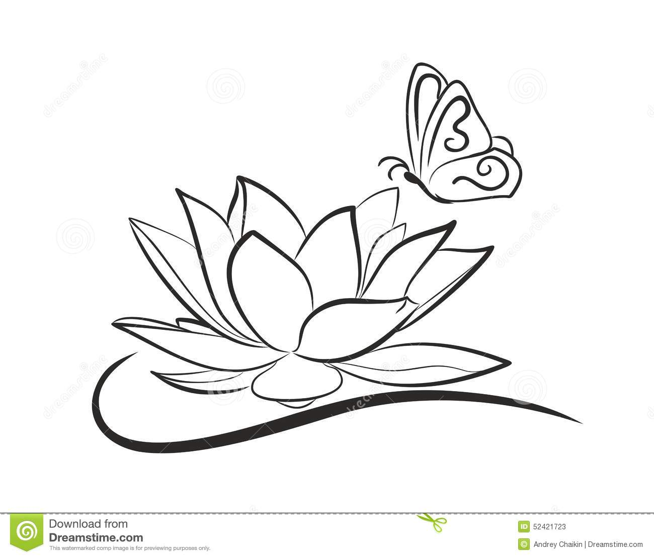 Water Lotus With A Butterfly Stock Vector Image 52421723