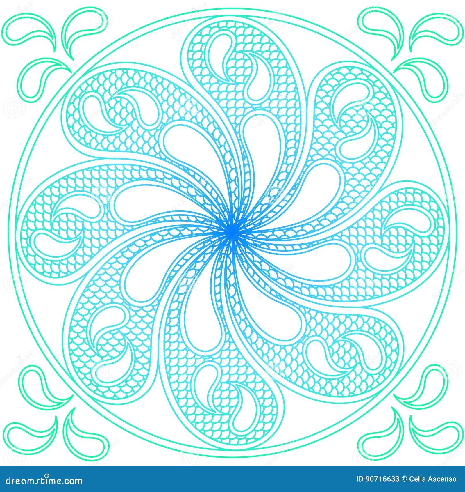 Water Mandala Ornament Stock Illustration