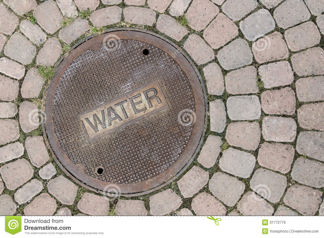 Water Manhole Cover With Brick Stock Image Image Of