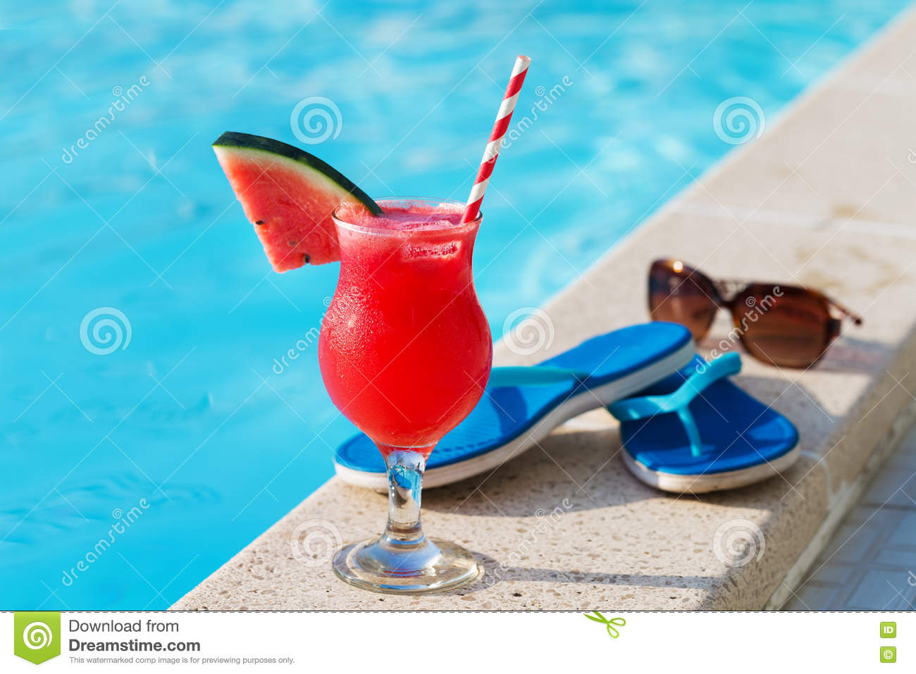 Water Melon Fresh Juice Smoothie Drink Near Swimming Pool Stock Photo Image Of Beverage