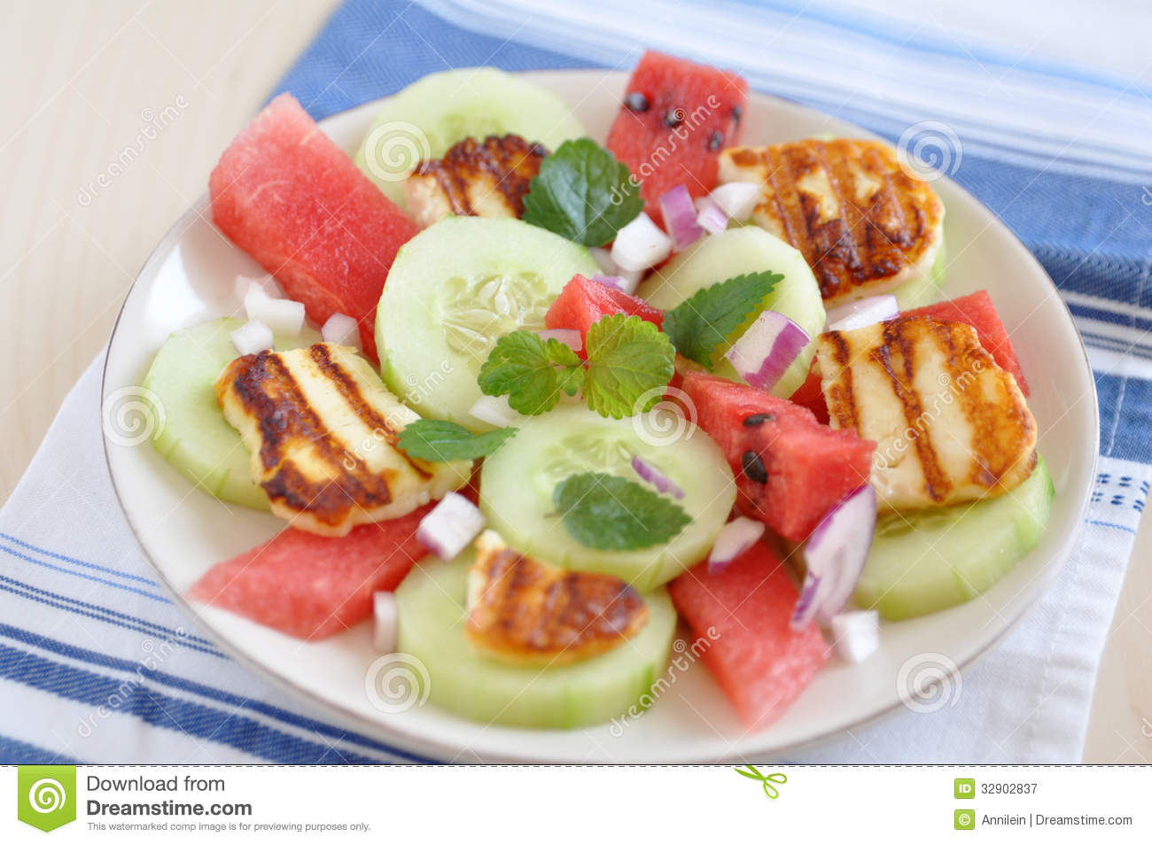 Royalty Free Stock Photography: Water Melon Salad with halloumi cheese