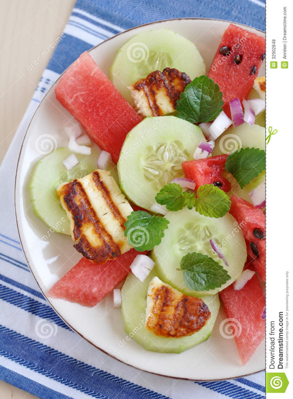 Healthy Water Melon Salad with halloumi cheese.