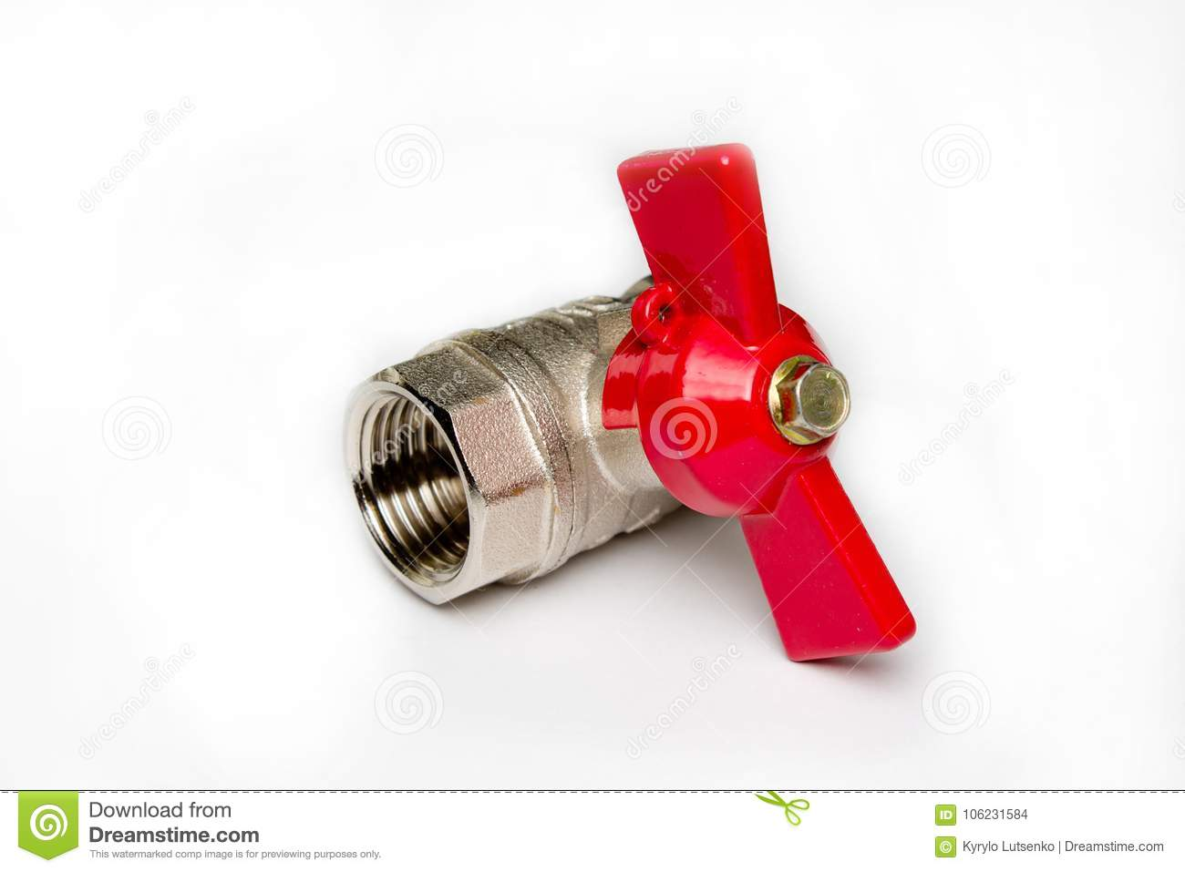 Water Metal Valve With A Red Handle Stock Photo - Image of faucet ...