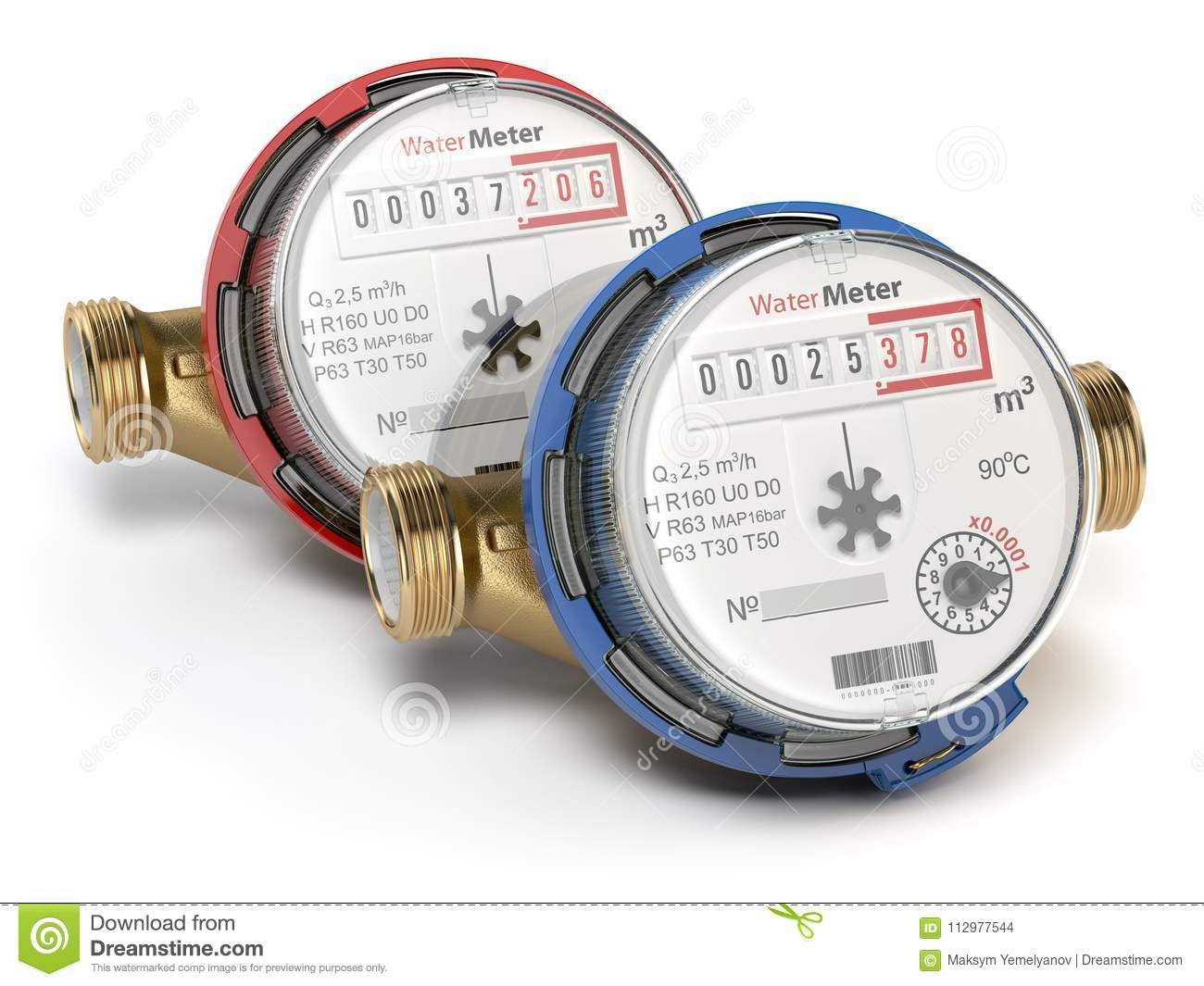 Water meters isolated on white background.