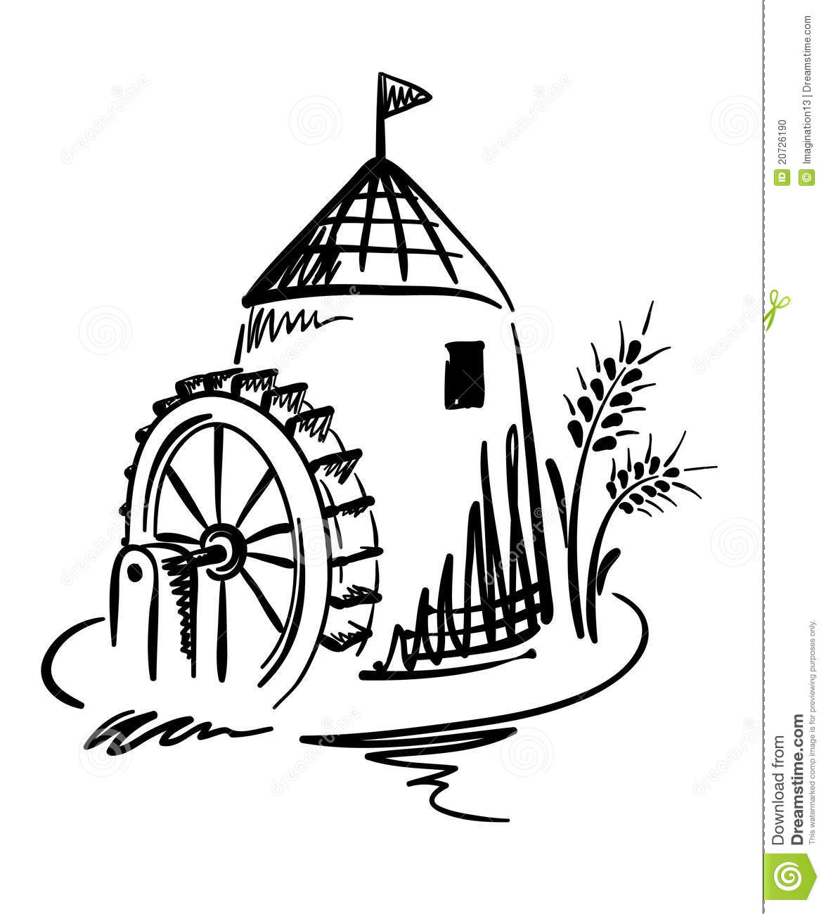 Water Wheel Clip Art : Water mill stock photo image