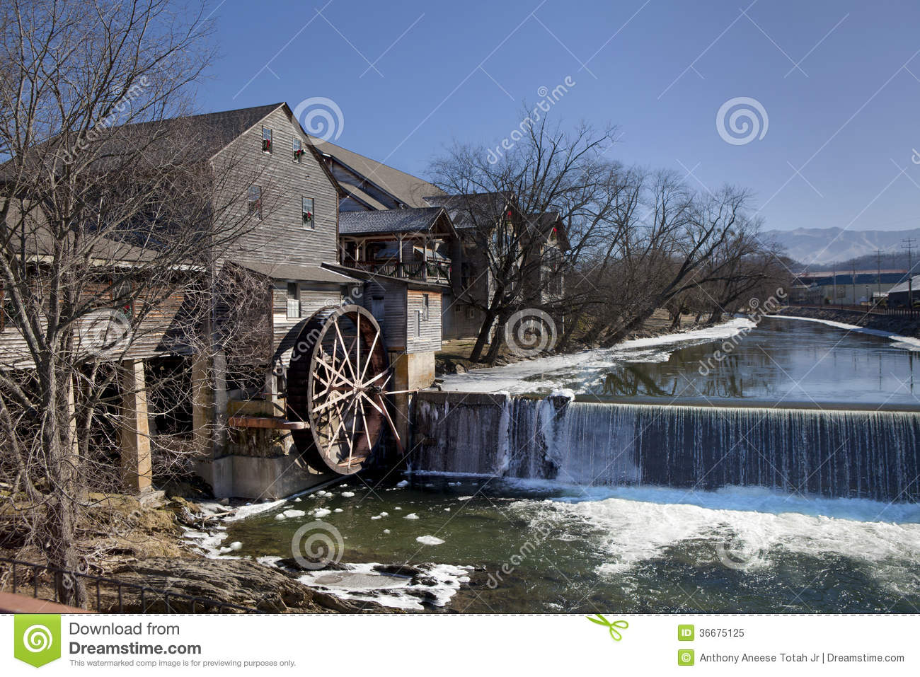 Water mill in pigeon forge tennessee royalty free stock for Fishing in pigeon forge tn