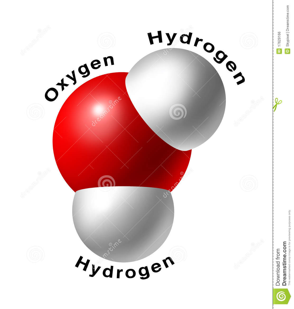 Water Molecule H2o Isolated Oxygen Hydrogen Red Wh Royalty Free Stock ...