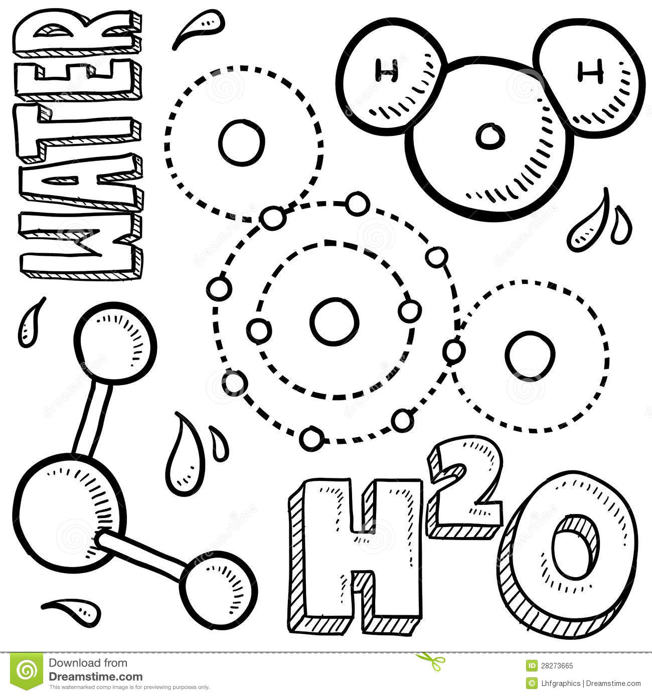 water molecule science sketch stock vector
