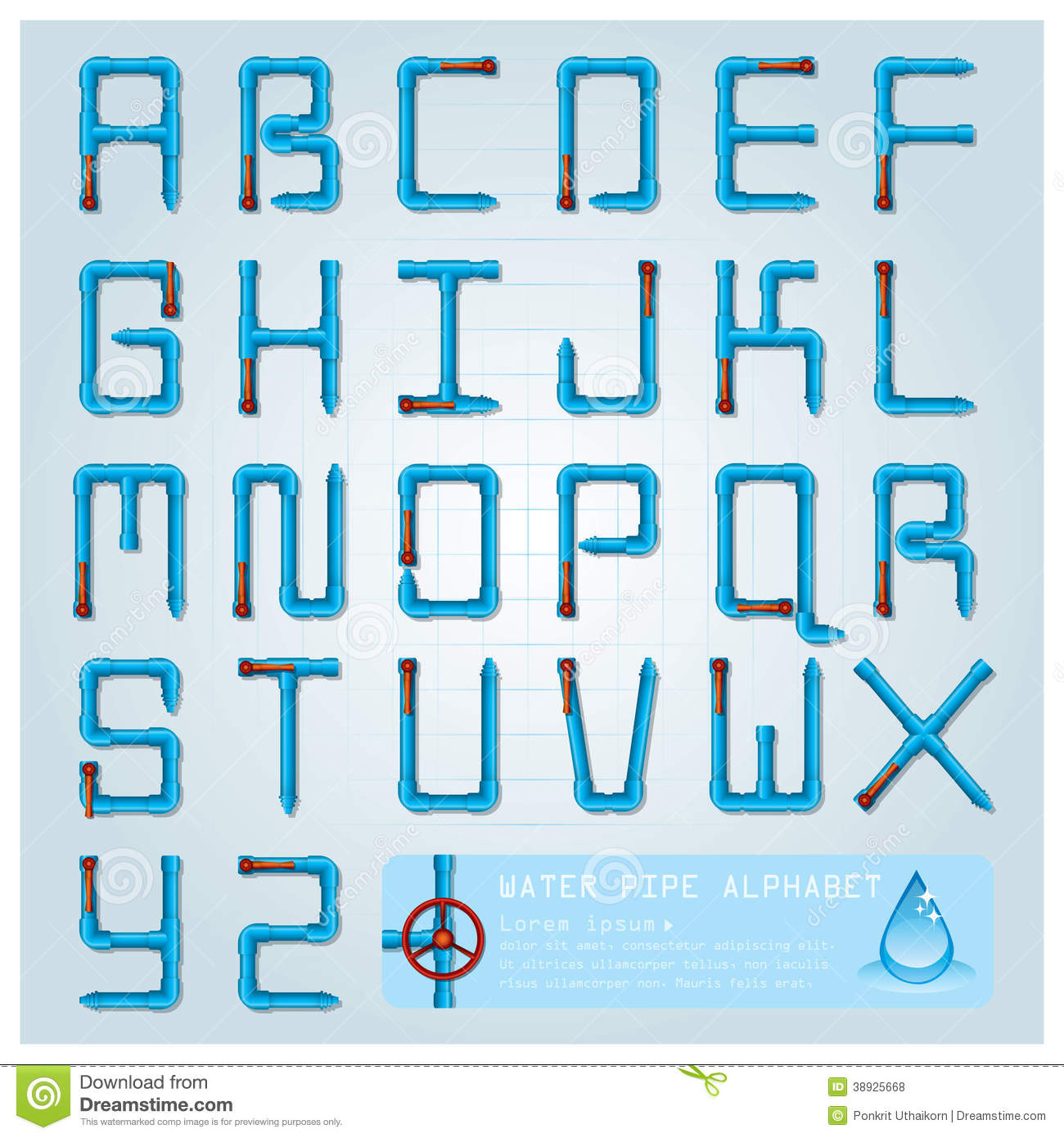 Water Pipe Alphabet Font Character Stock Vector