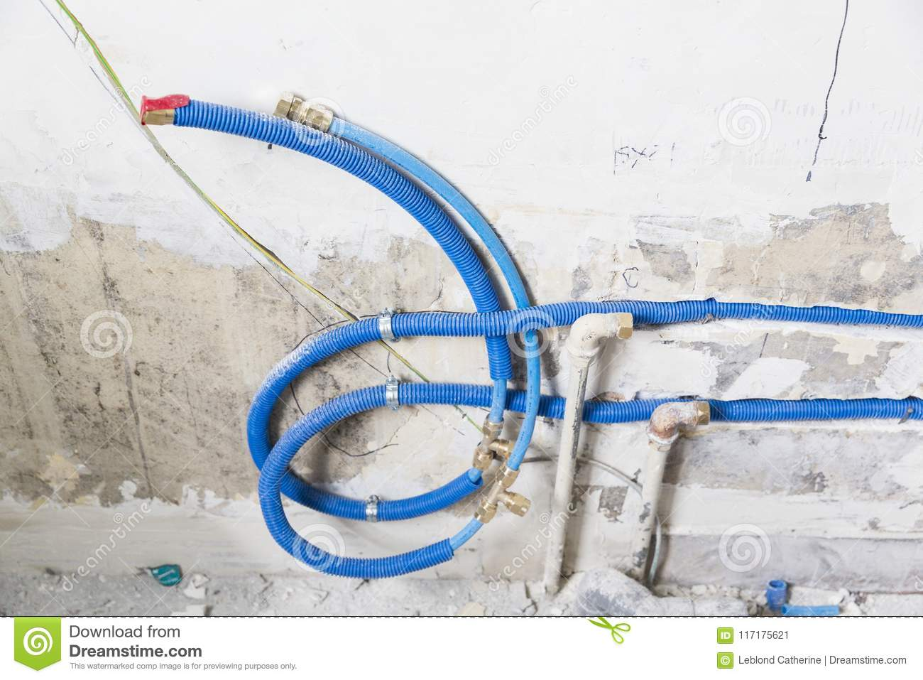Water Pipes Made Of Polypropylene Pex In The Wall Plumbing House Wiring Bathroom Installation Sewer A An Apartment Interior During