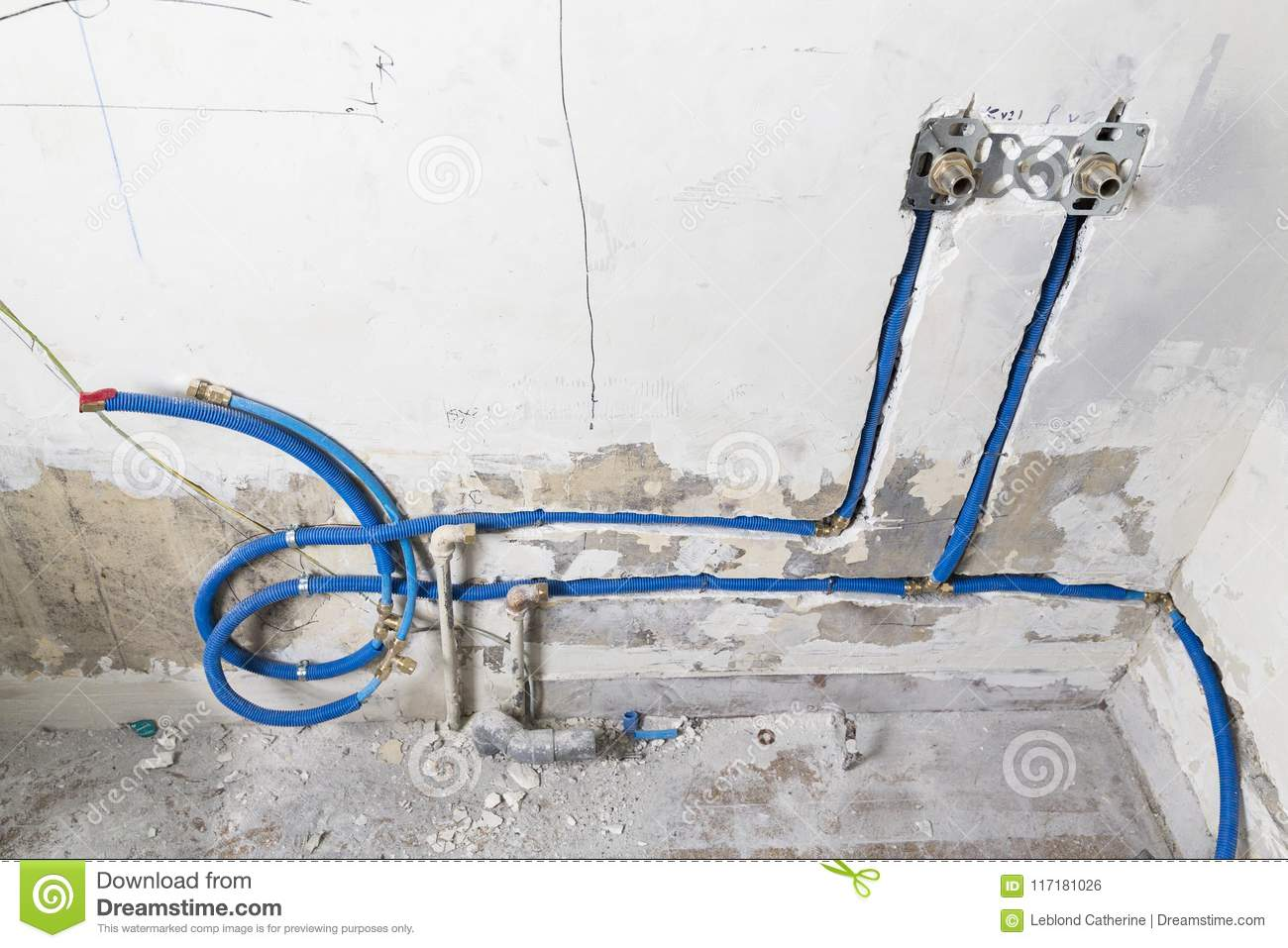 Water Pipes Made Of Polypropylene Pex In The Wall Plumbing In The