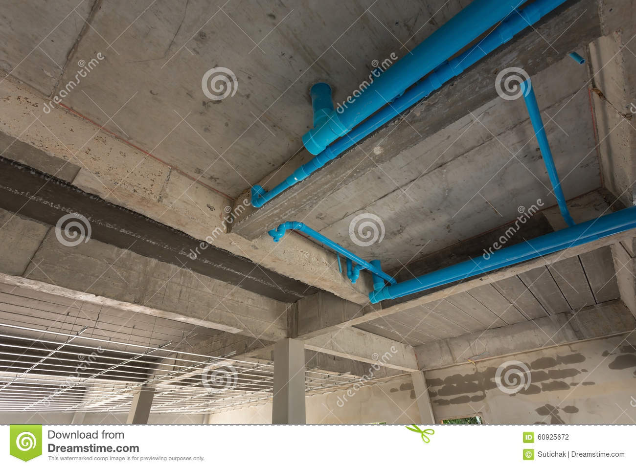 Water pipes pvc plumbing under cement ceiling stock photo for Plumbing for new construction