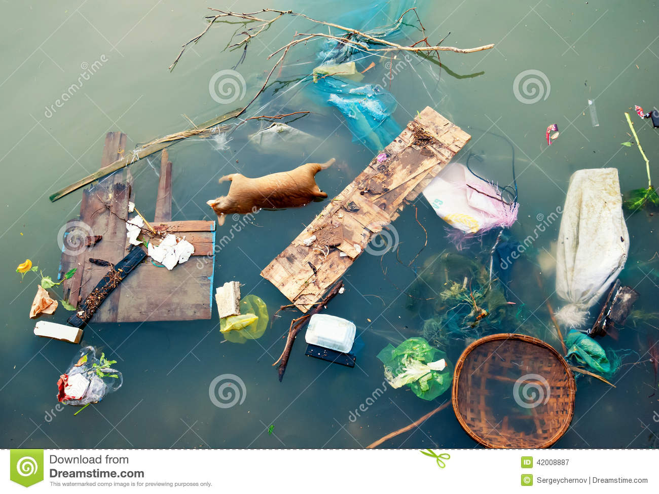 Water pollution with plastic garbage and dirty trash waste