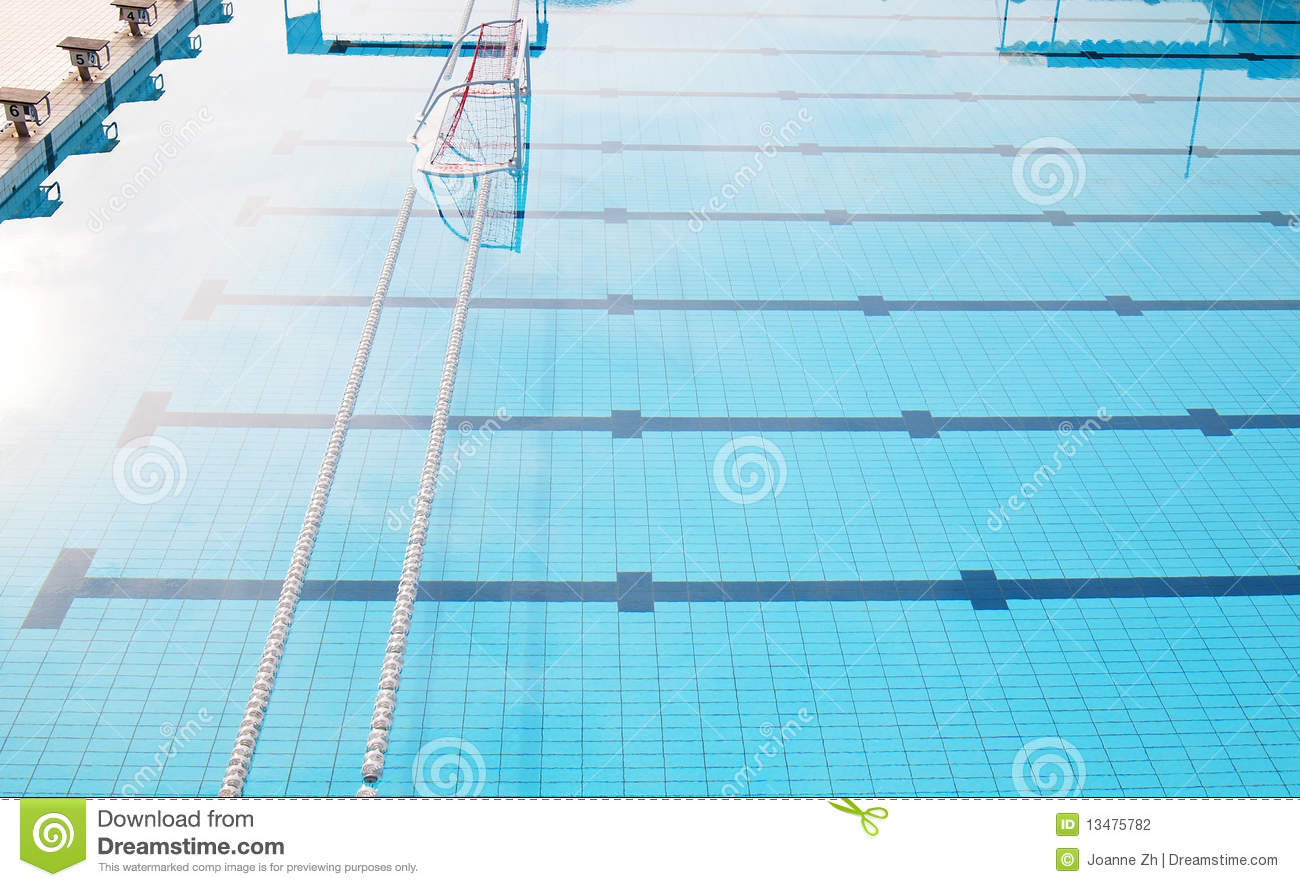 Water polo goal in empty swimming pool stock photography for Empty swimming pool