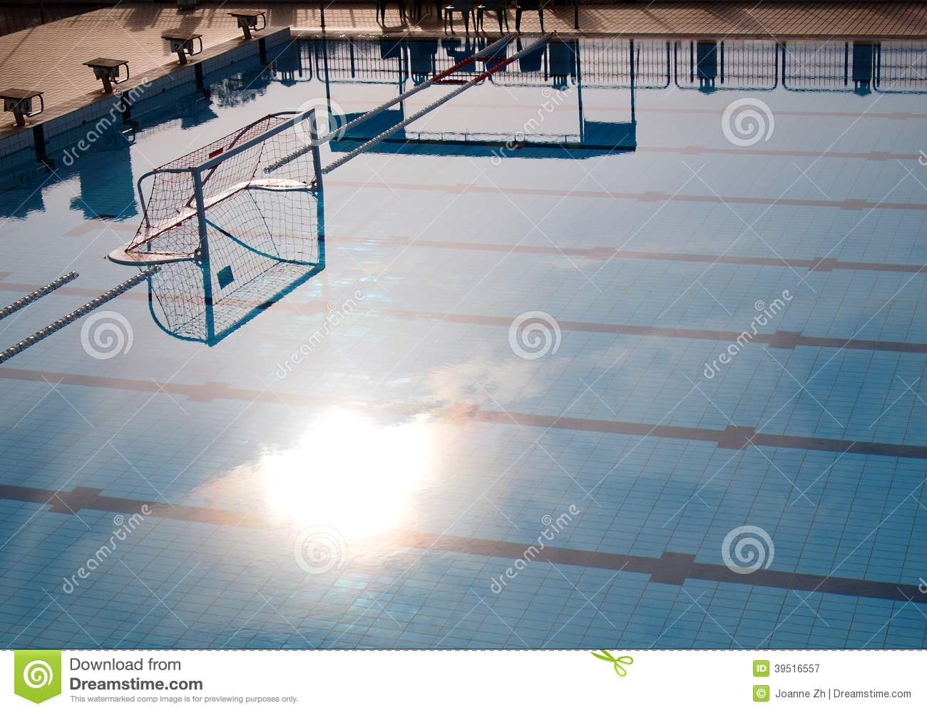 Water Polo Goal Net In Pool With Morning Sunshine Stock Photo Image 39516557