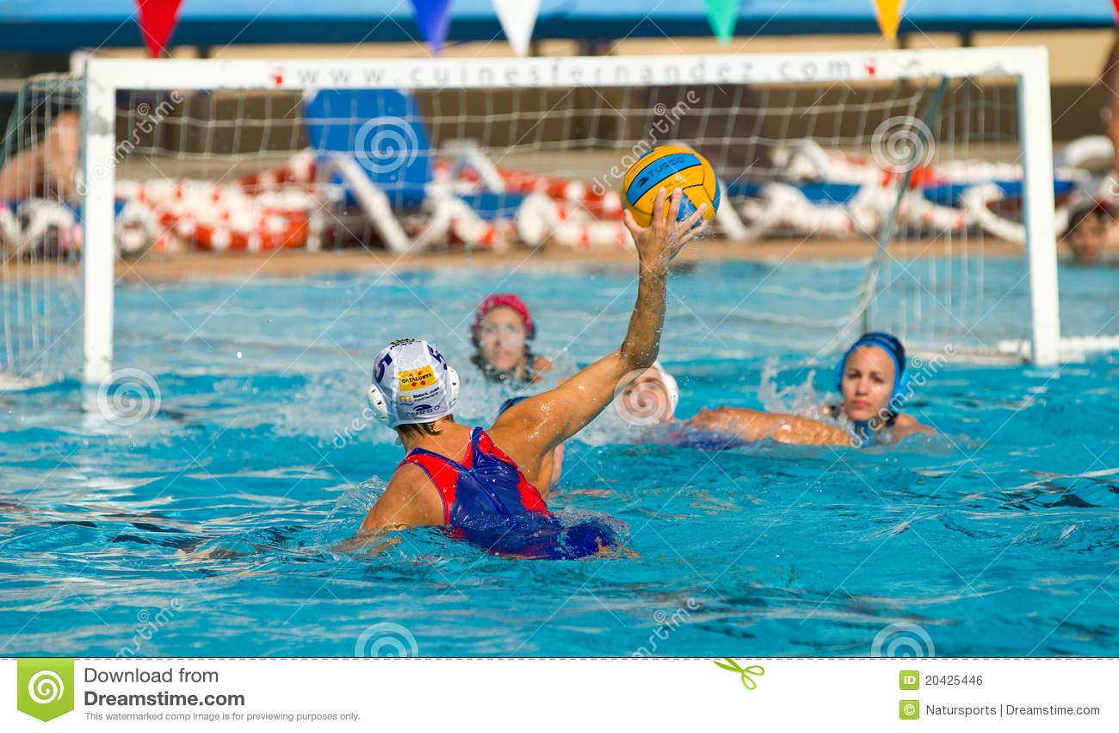 Water polo players shooting