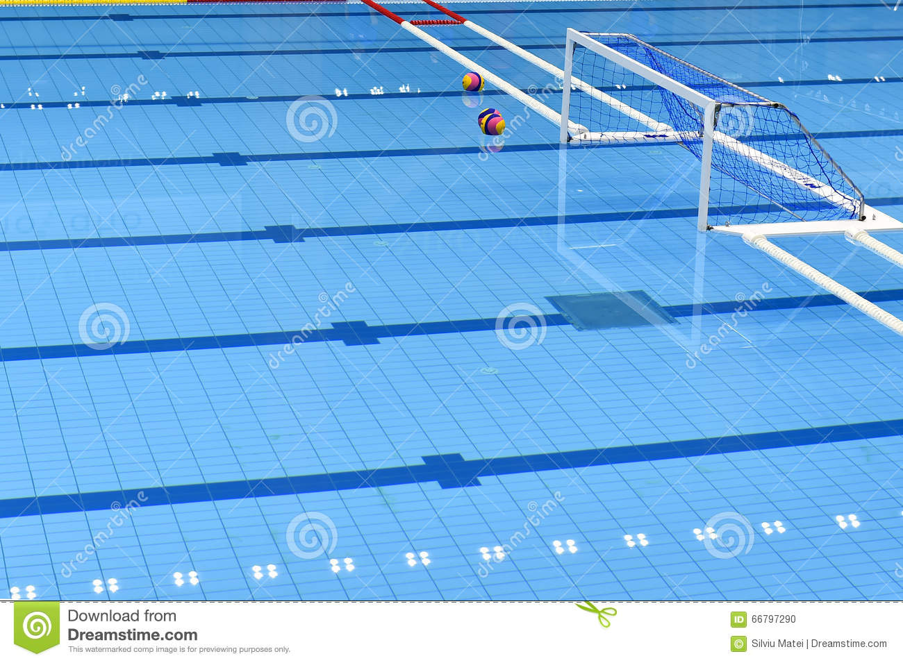 Water Polo Color Pattern On Blue Background Cartoon Vector