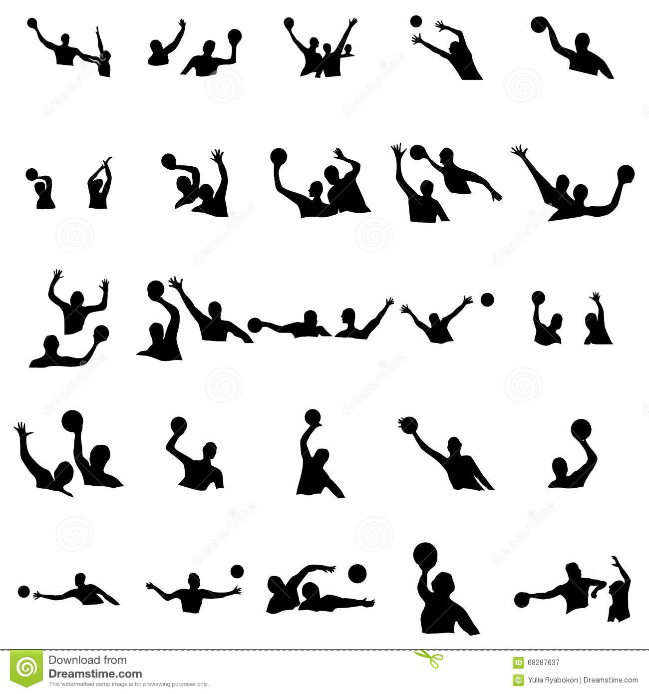 Water Polo Silhouette Set Stock Vector Image 68287637