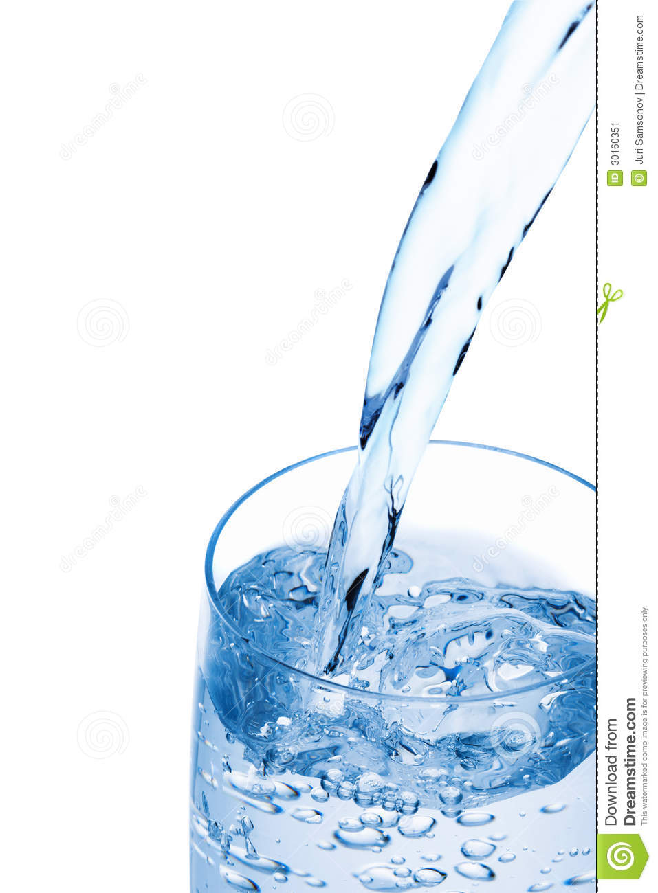 water pouring into a glass  stock image