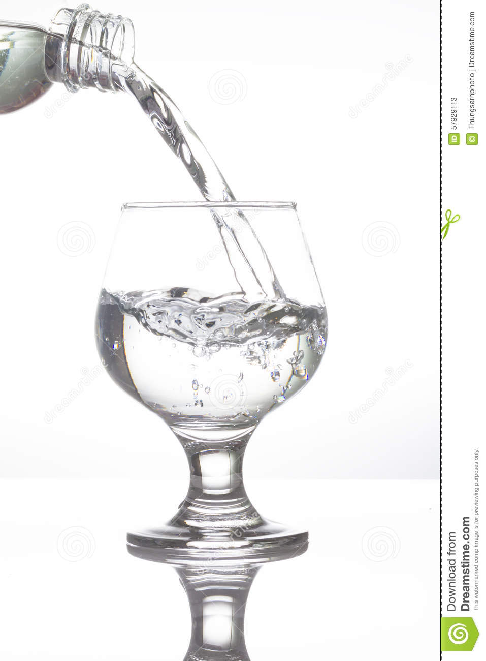 Water Pouring Into Wine Glass On White Stock Image Image