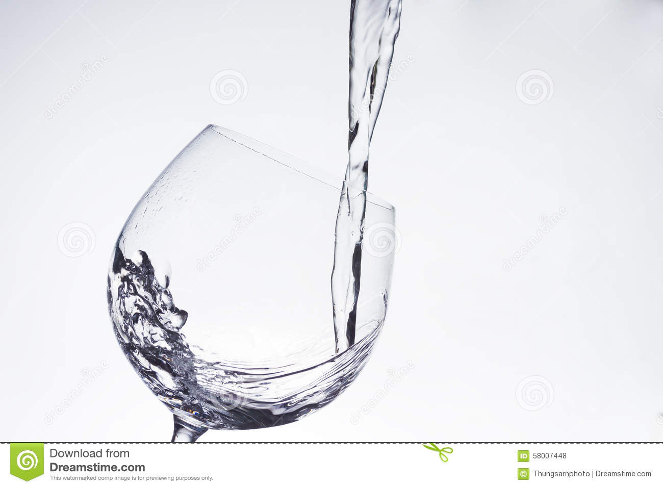 Water Pouring Into The Wineglass Stock Photo Image Of