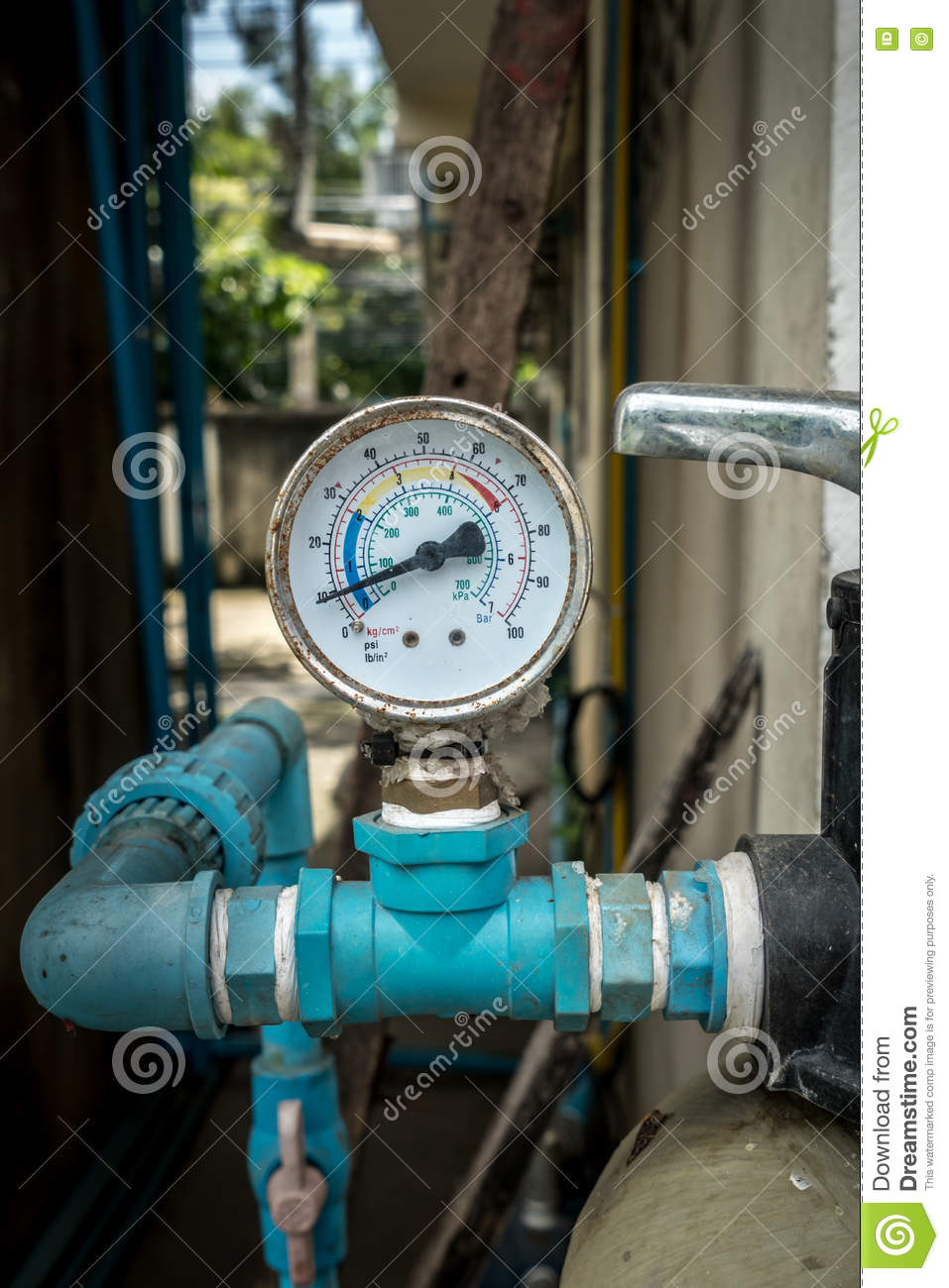 Water pressure gage stock photo. Image of dial, boiler - 77355366