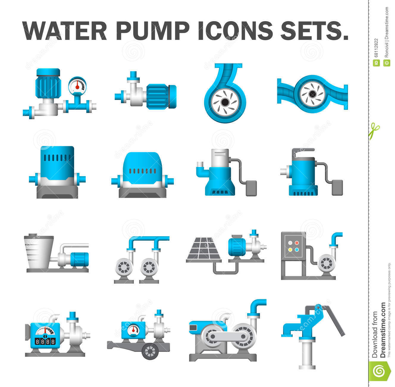 Water Pump Set Stock Vector Illustration Of Rotary Icon