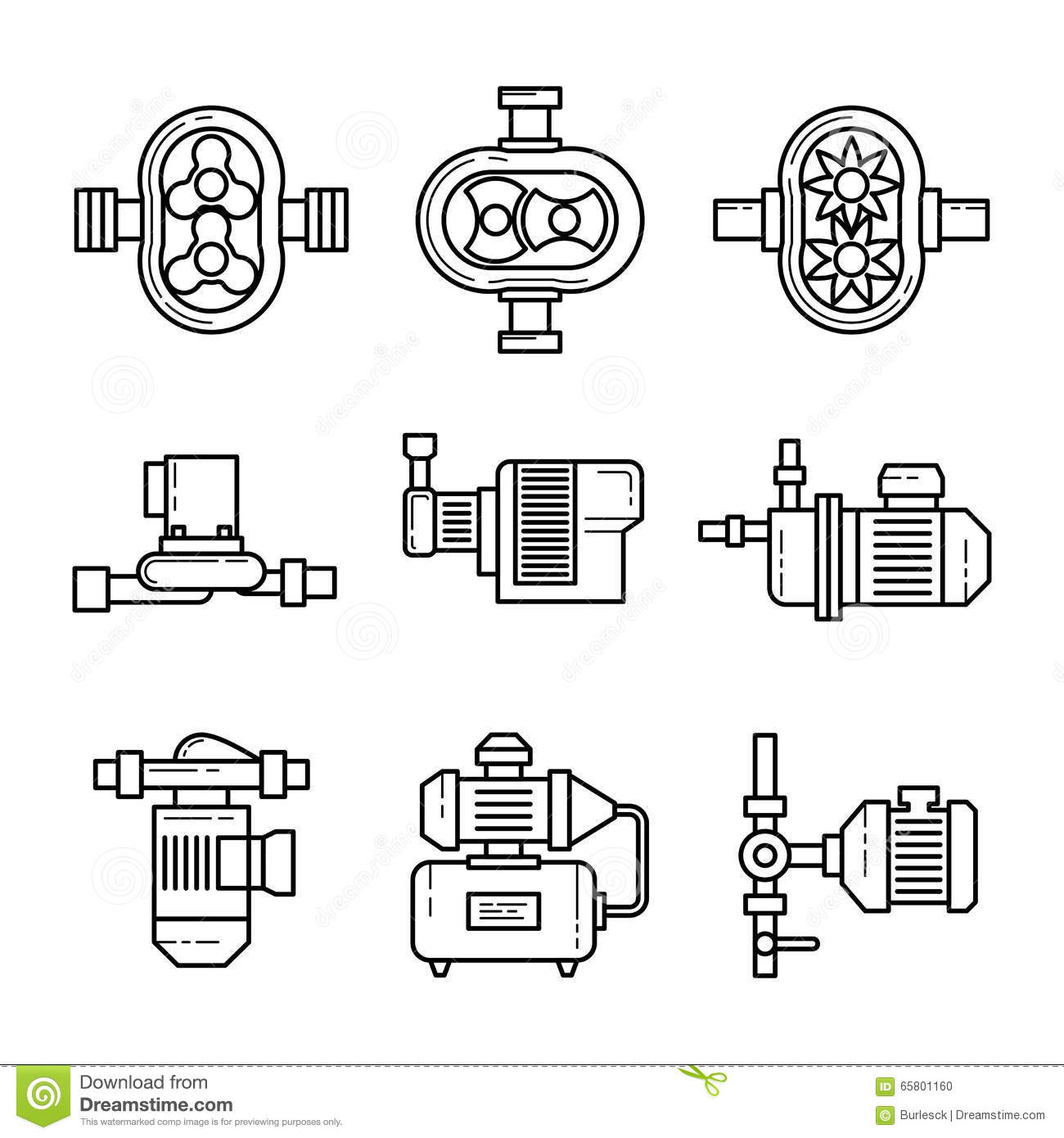 Water Pump Vector Line Icons Sets Stock Vector Image