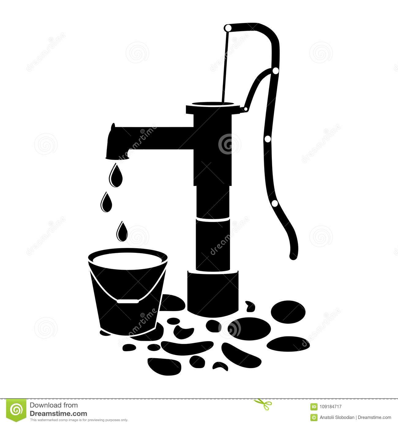 Water Pump Well Icon Vector On White Stock Vector - Illustration of ...
