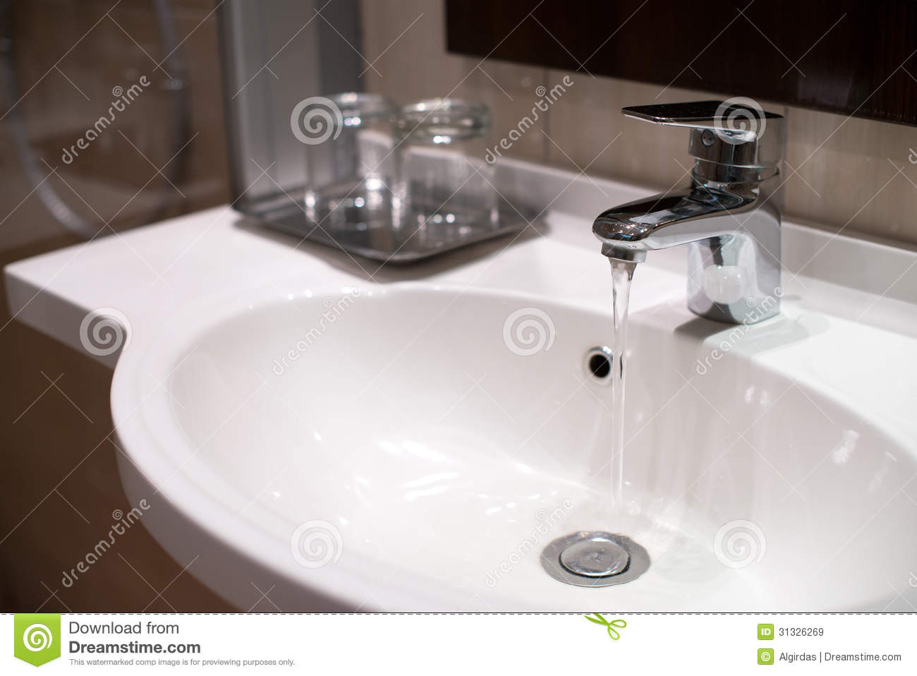 Water Running In Sink From Tap Royalty Free Stock Images ...