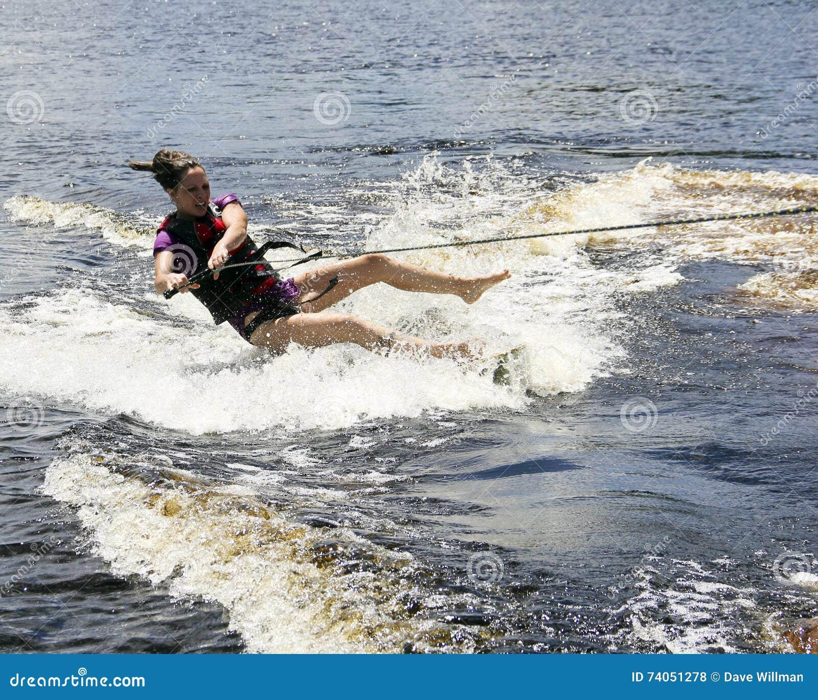 Water skier falling