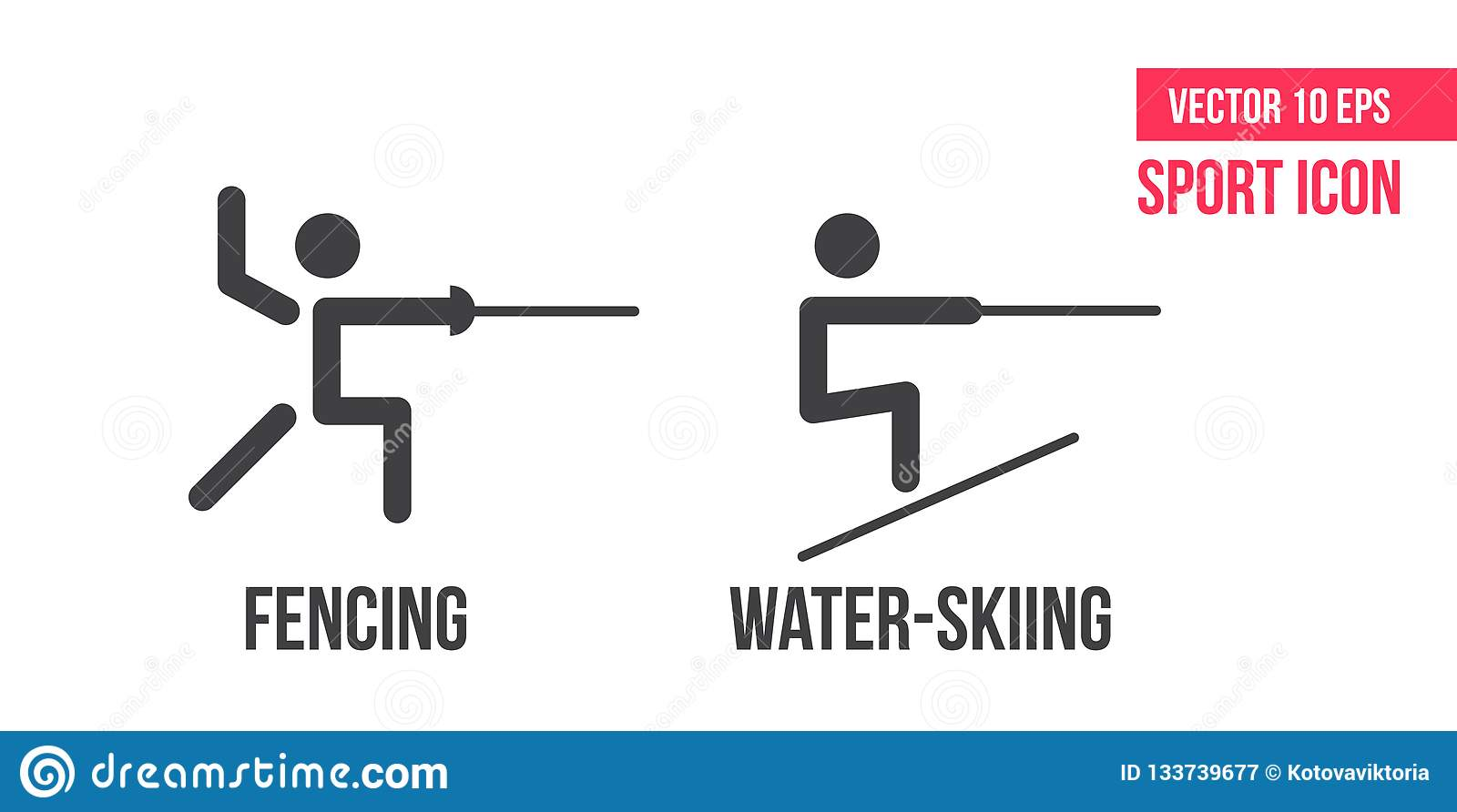 Water-skiing and fencing icon. Set of summer sports vector line icons. athlete pictogram