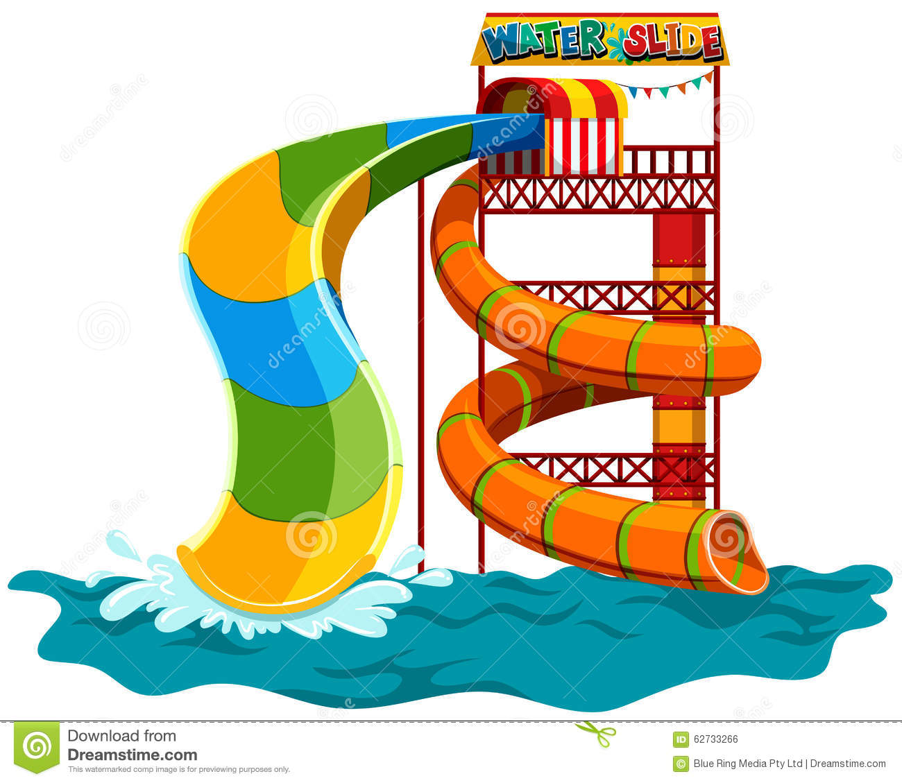 Water Slide At The Park Stock Vector - Image: 62733266