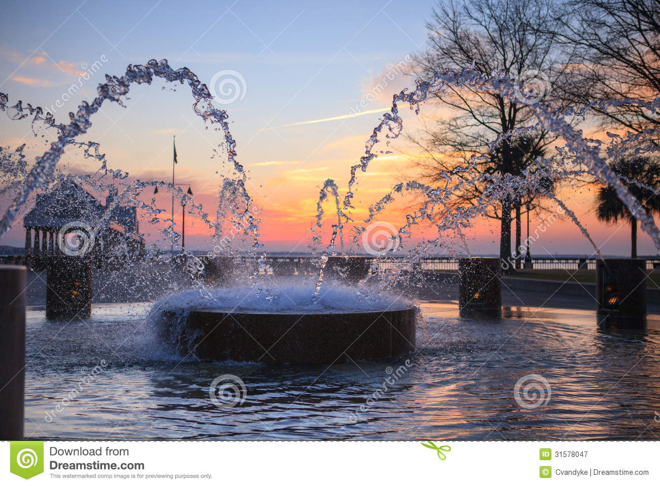 Water Splash Charleston Sc Fountain Royalty Free Stock