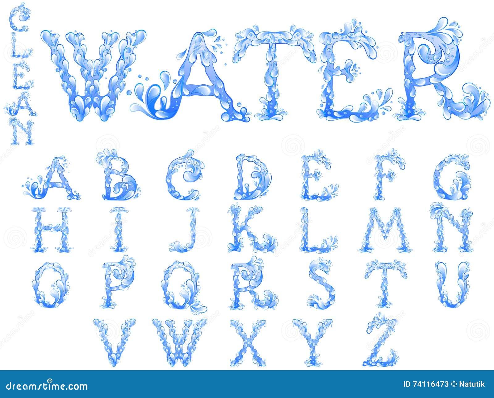 water splash letters font stock vector illustration of