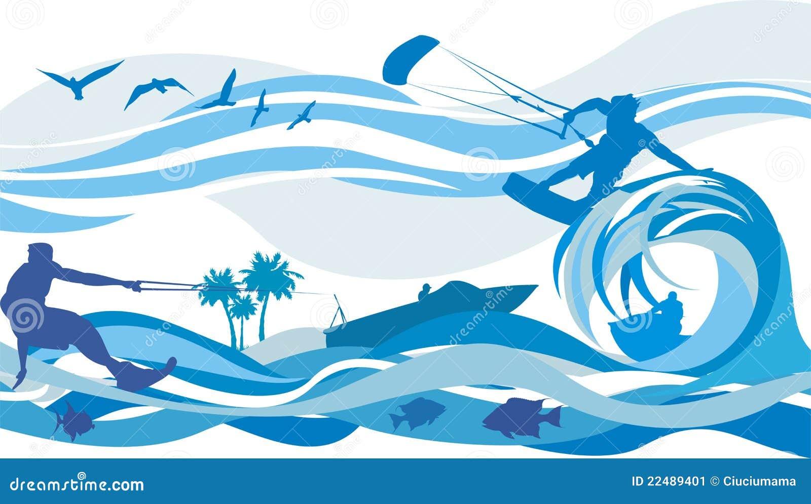 Windsurf Disegno: Kite Surfing, Water Skiing, Jet Stock
