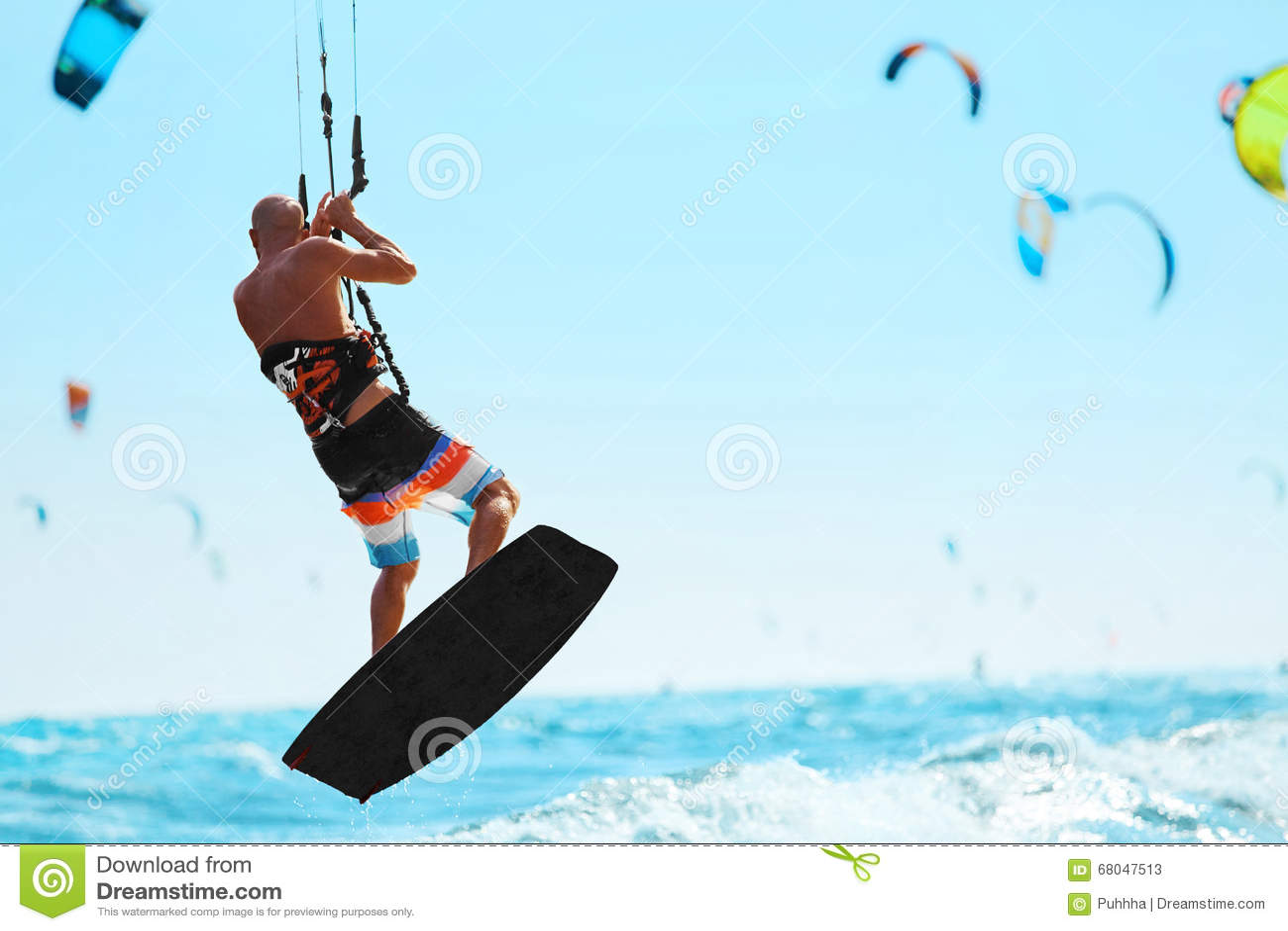 Water Sports. Kiteboarding, Kitesurfing In Ocean. Extreme Sport