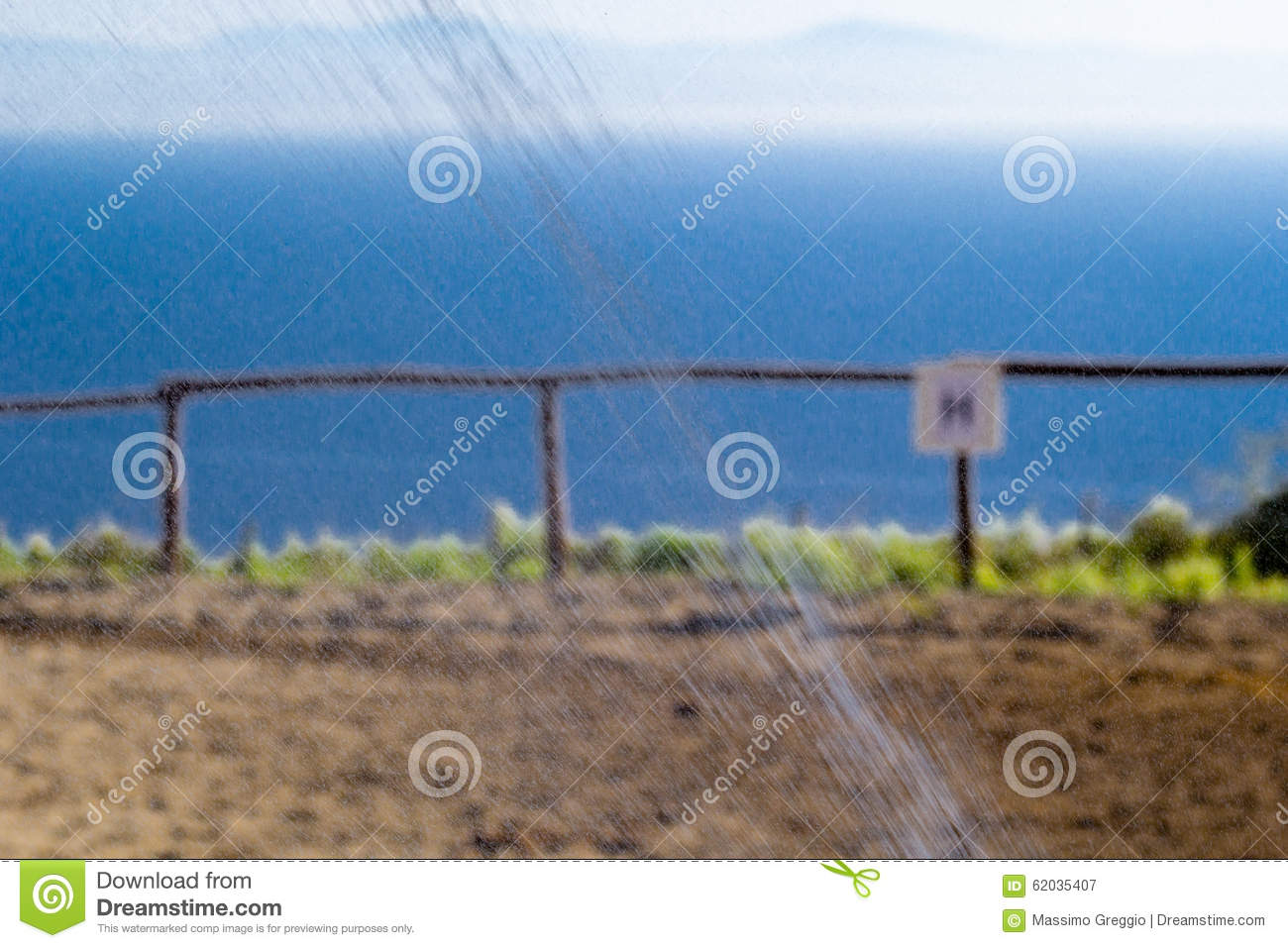 Water Sprinkle Irrigation And Horse Fence Stock Image - Image of ...