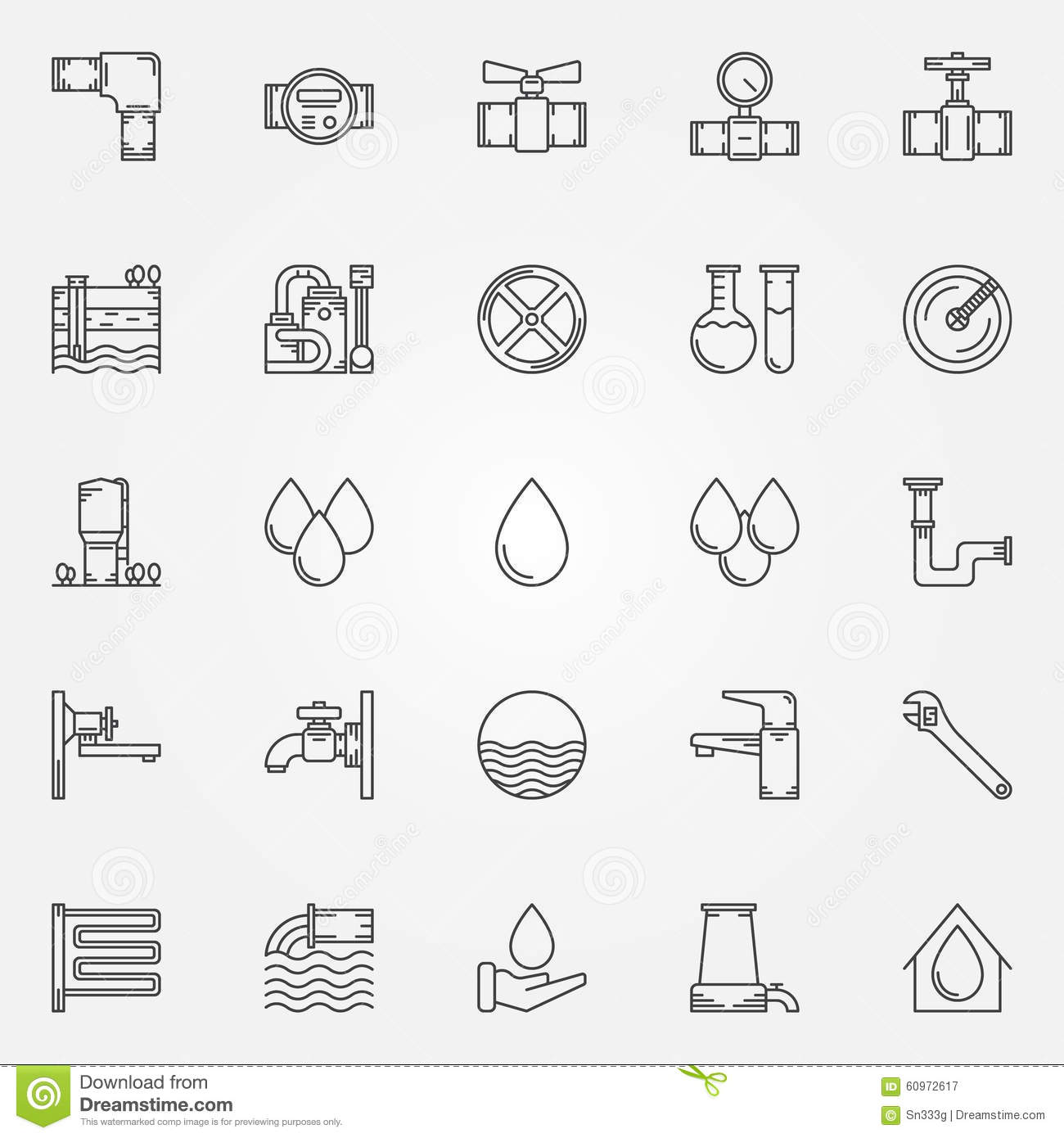 Water Supply Icons Stock Vector Image 60972617