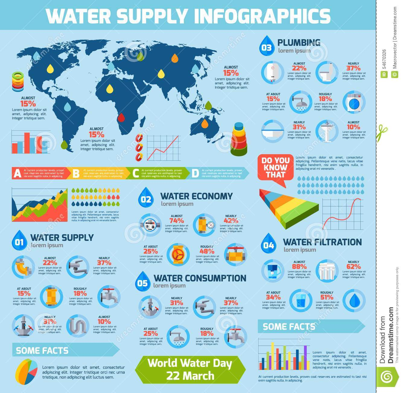 Water Supply Infographics Stock Vector Image Of Elements 54670326