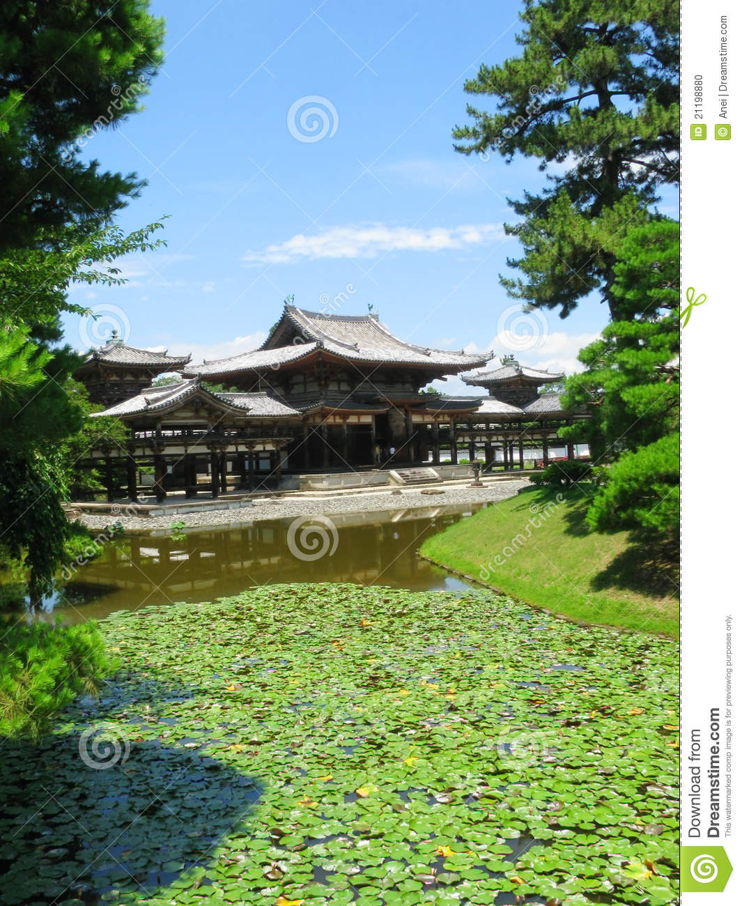 By water surrounded Phoenix Hall in Japan