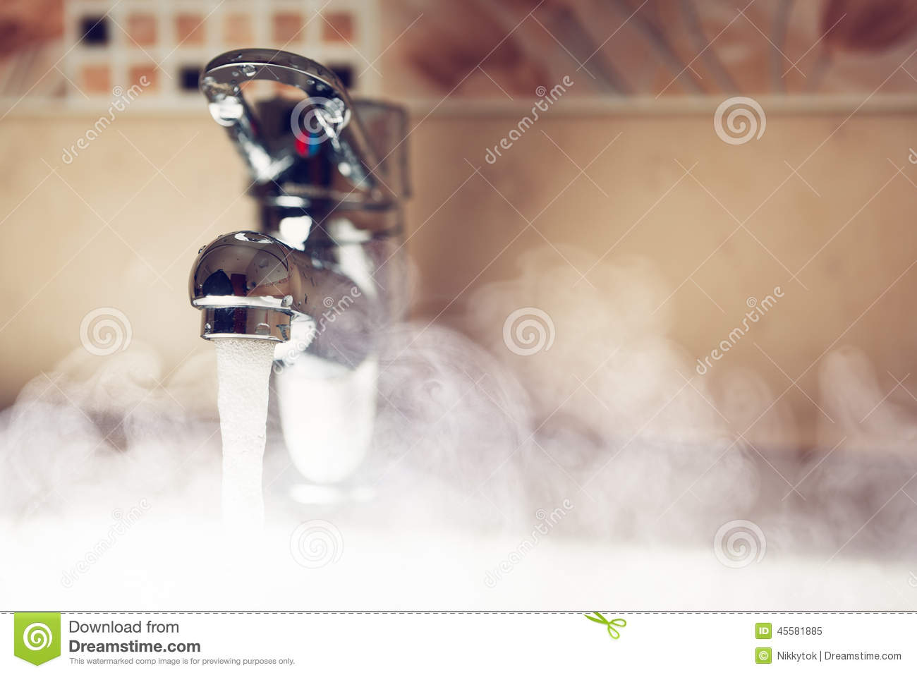 Water Tap With Hot Water Steam Stock Image Image Of
