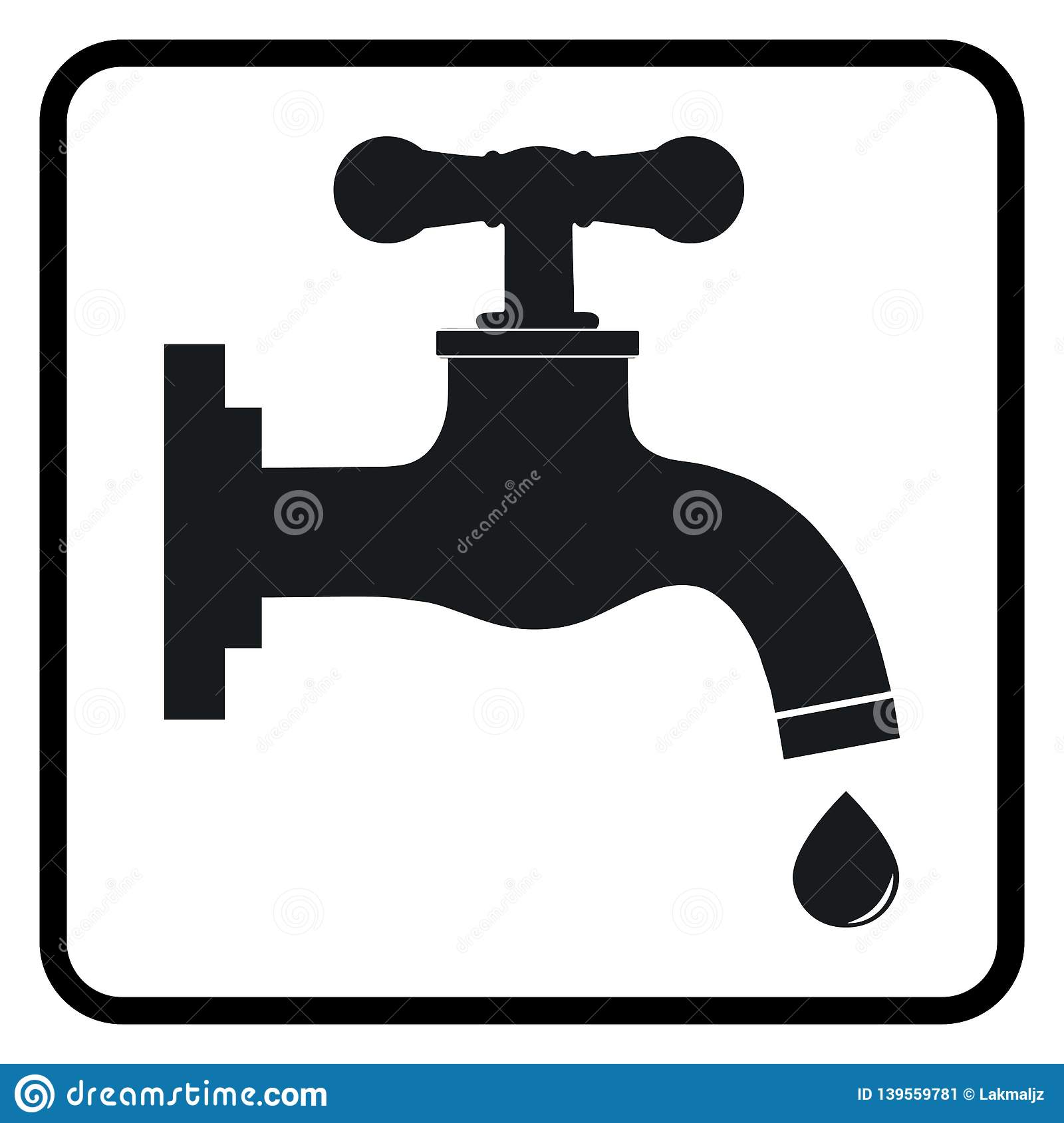 Silhouette Of A Tap Vector Illustration Cartoondealer