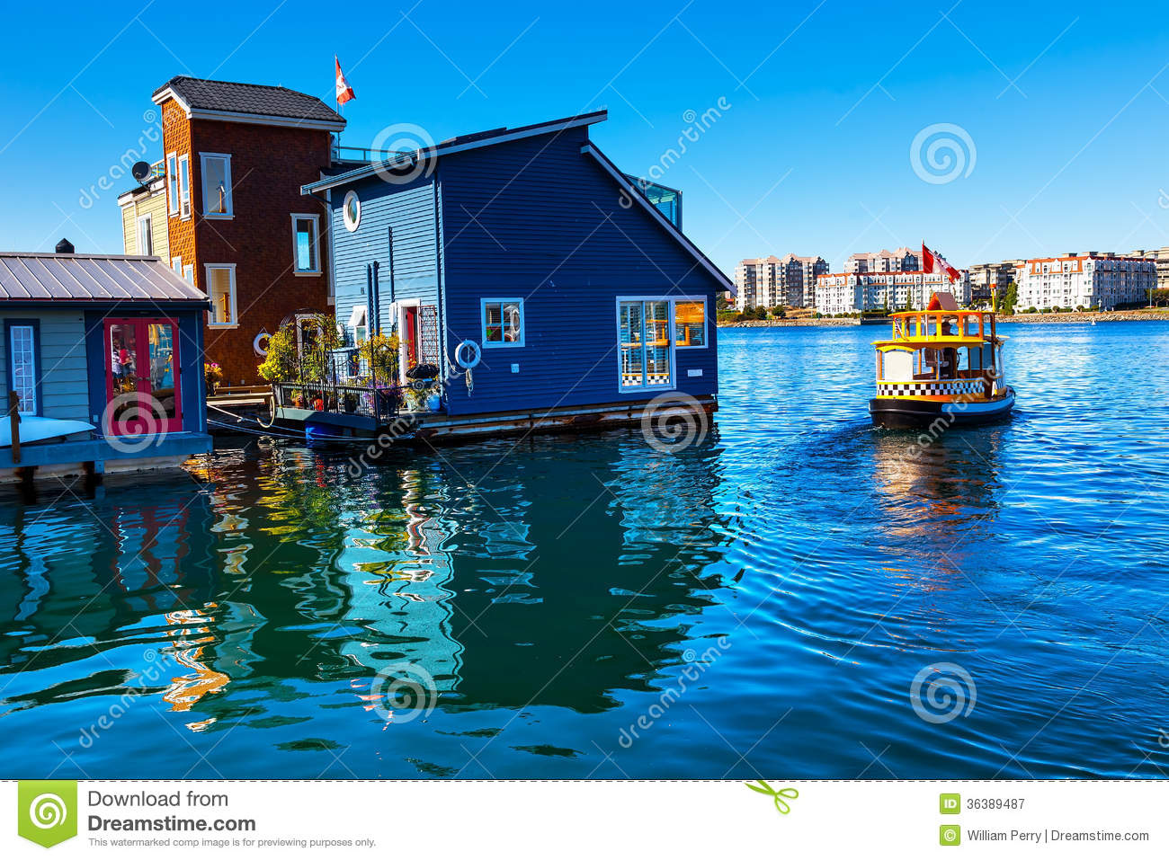 Water Taxi Blue Houseboats Victoria Canada Stock Image - Image of ...